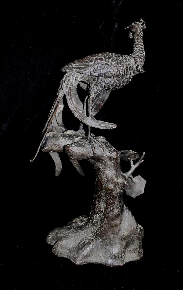 Large Chinese Bronze Pheonix on Tree - 5