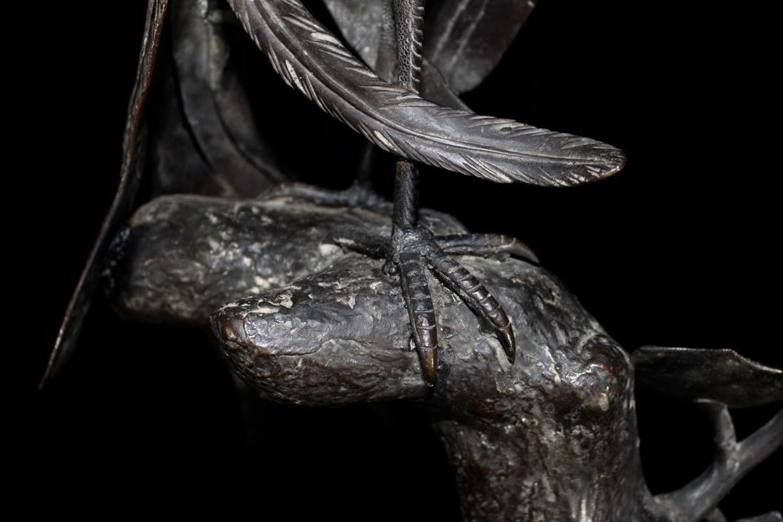 Large Chinese Bronze Pheonix on Tree - 6