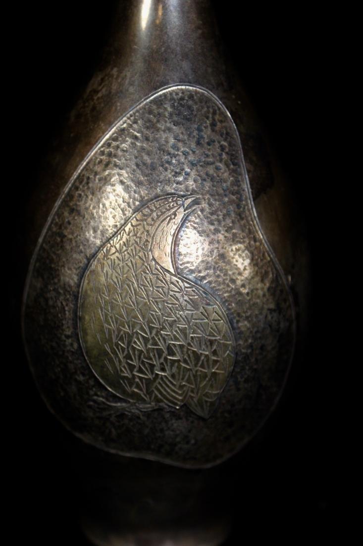 Japanese Sterling Silver Vase - Stamped Juning - 3