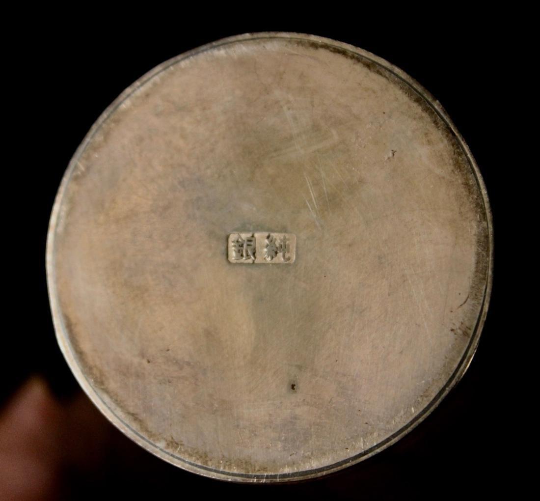 Japanese Sterling Silver Vase - Stamped Juning - 4