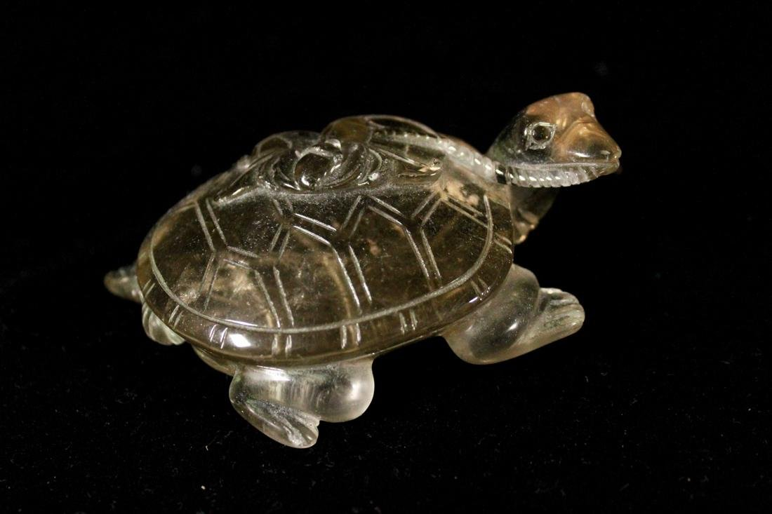 Chinese Rock Crystal Carving of a Turtle with Coin