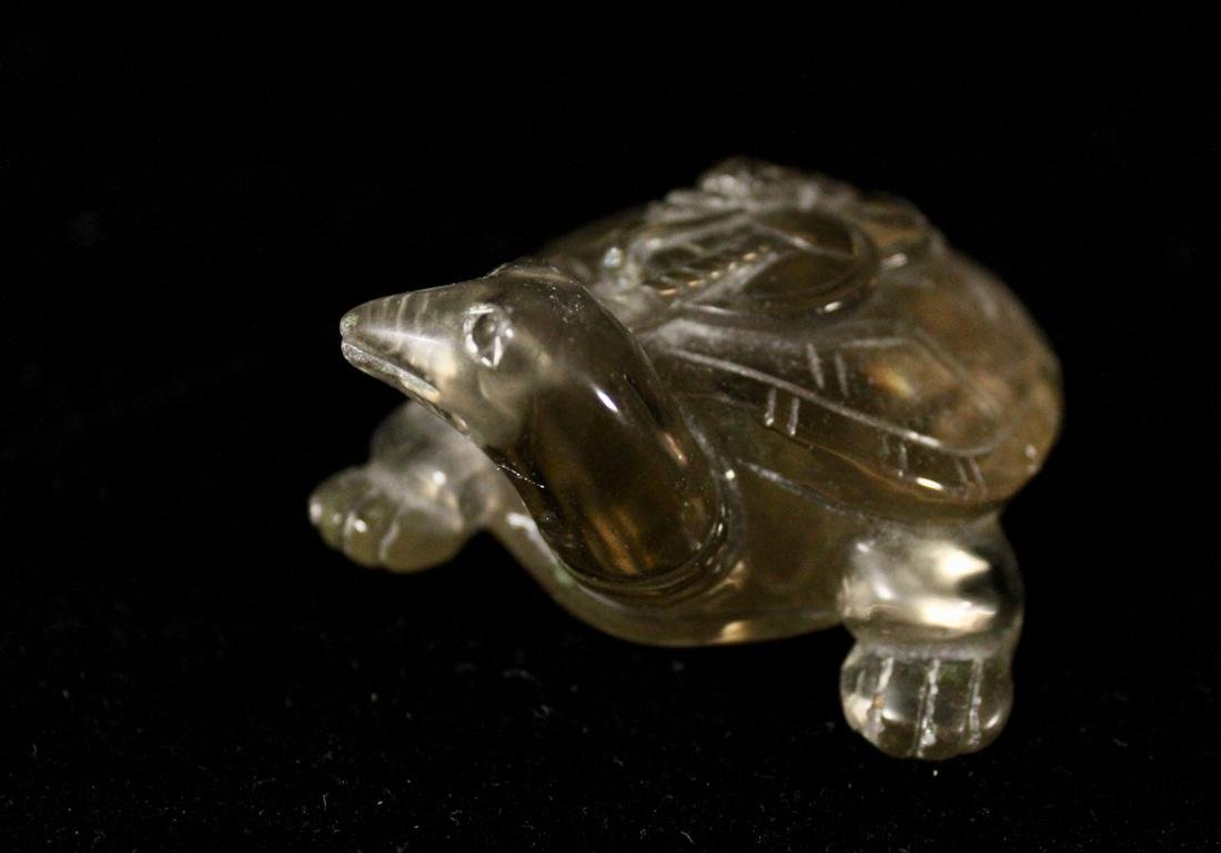 Chinese Rock Crystal Carving of a Turtle with Coin - 2