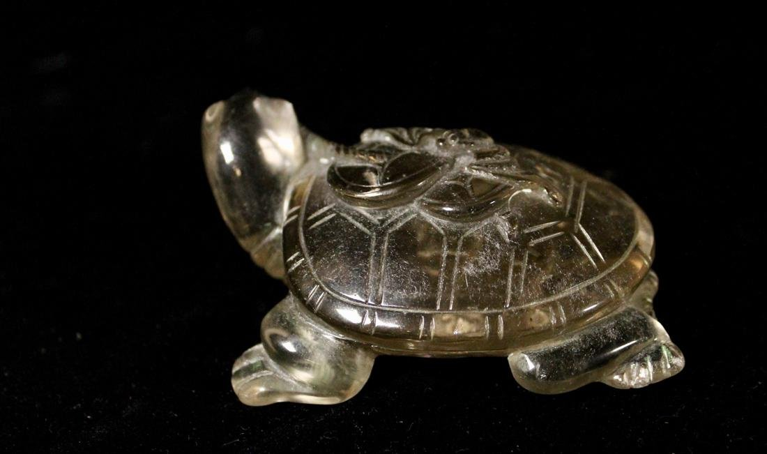 Chinese Rock Crystal Carving of a Turtle with Coin - 3
