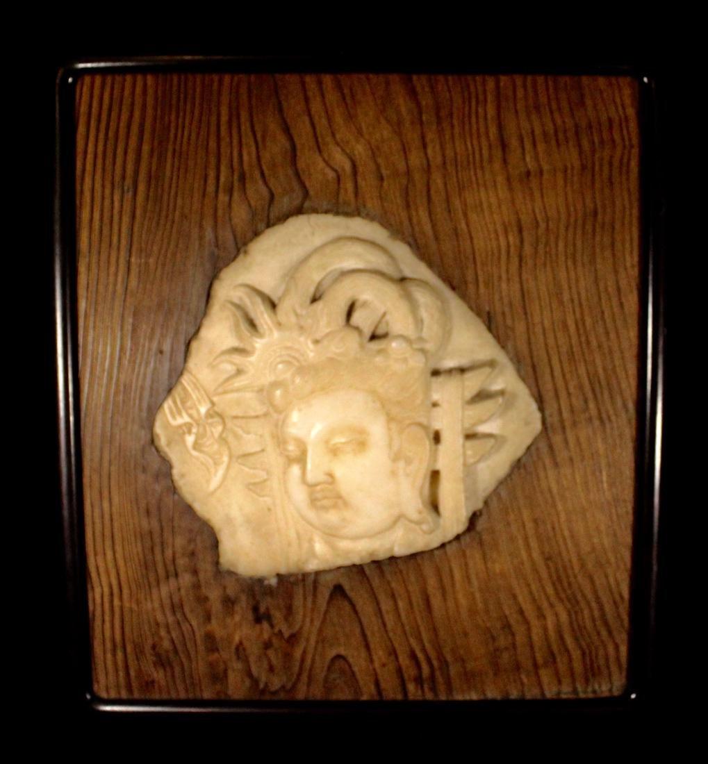 Chinese White Marble Buddha Plaque Mounted on Zitan