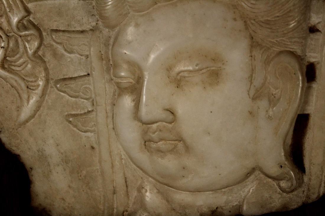 Chinese White Marble Buddha Plaque Mounted on Zitan - 3