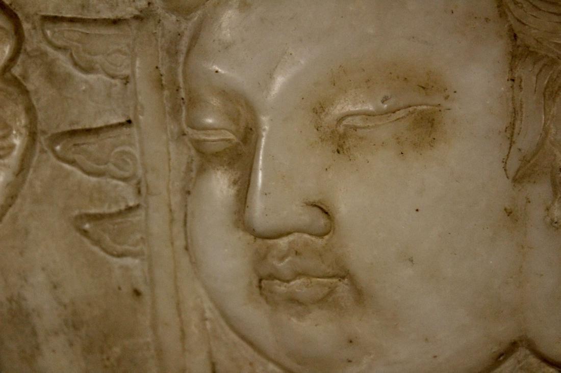 Chinese White Marble Buddha Plaque Mounted on Zitan - 4