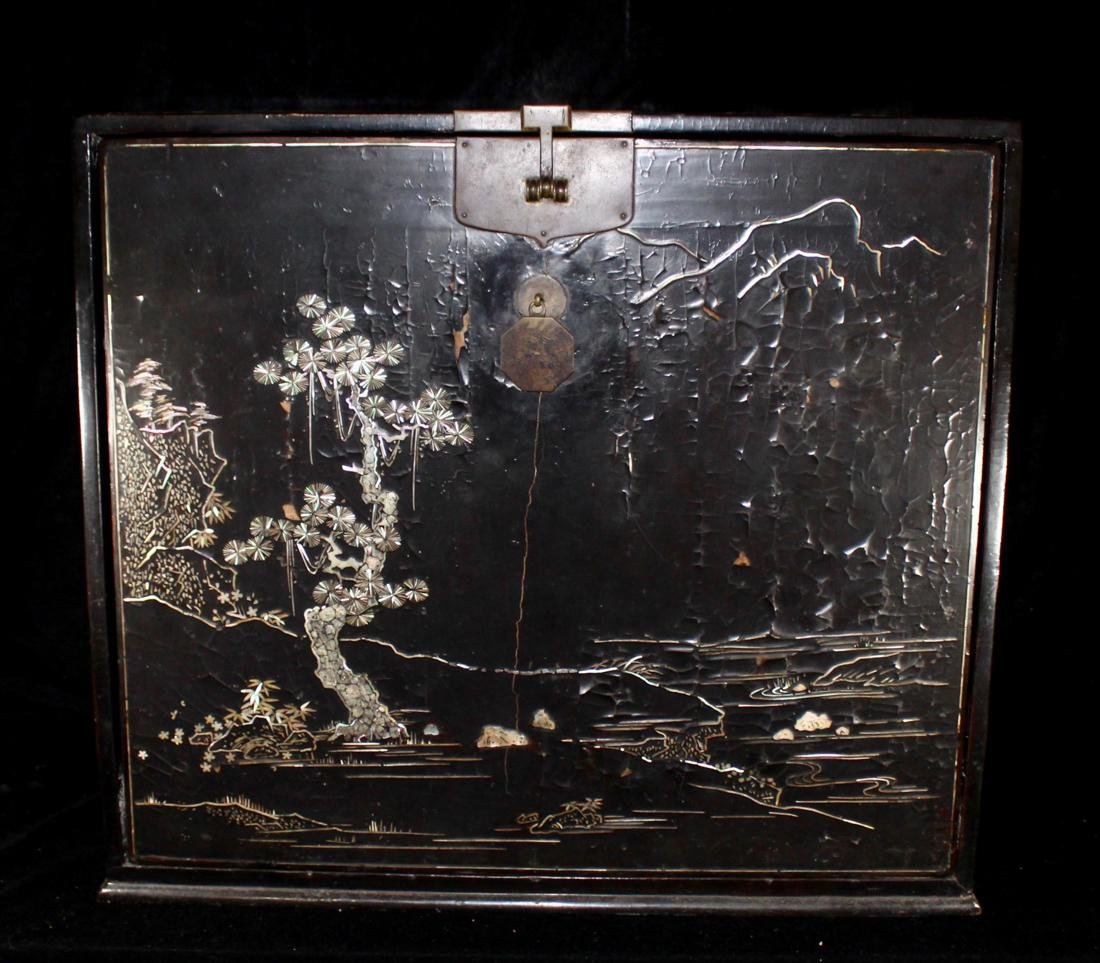 Chinese Ming Lacquer Chest with Mother of Pearl Inlay