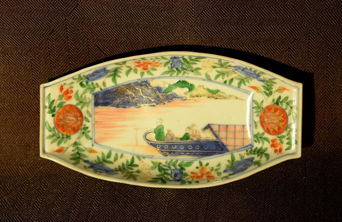 Chinese Wucai Porcelain Boat Shaped Dish