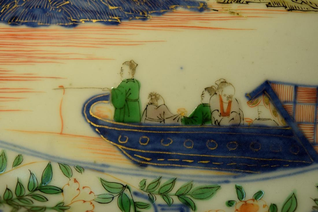 Chinese Wucai Porcelain Boat Shaped Dish - 2