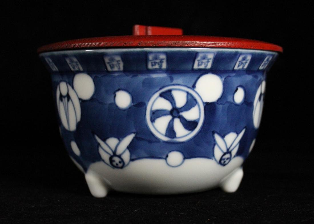 Pair Japanese Blue white Porcelain Teabowls with Cover - 2