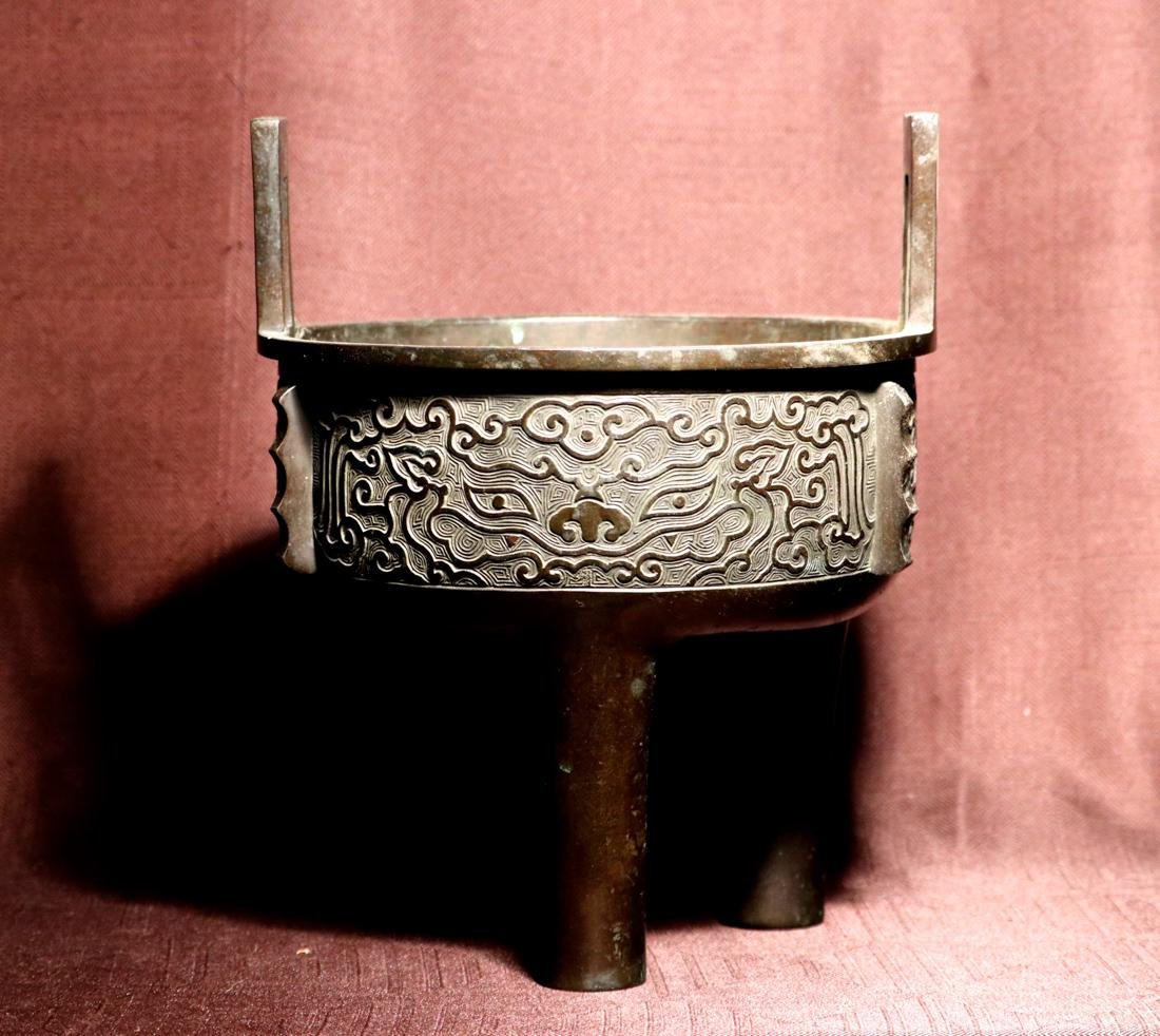 Chinese Bronze Censer with Titao Mask