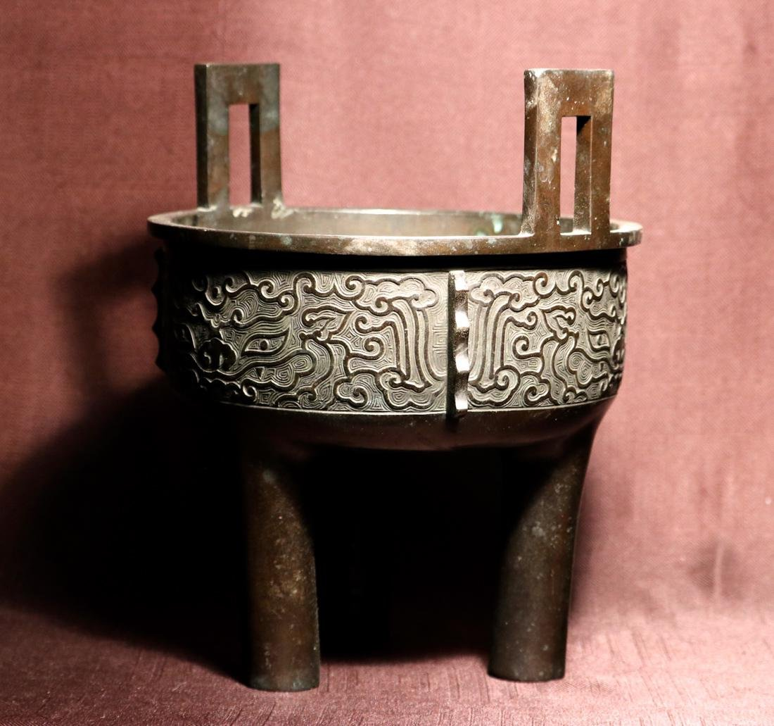 Chinese Bronze Censer with Titao Mask - 3