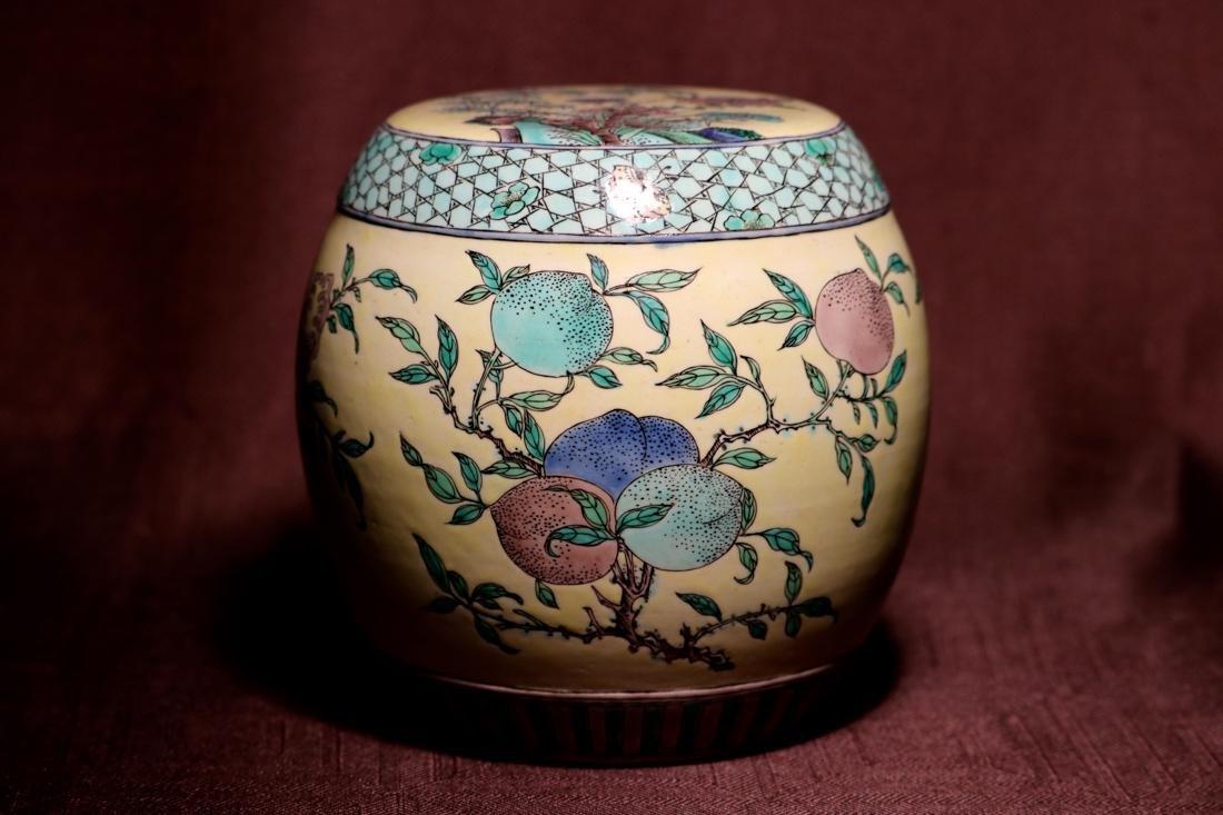 Chinese Sancai Porcelain Scholar Elbow Rest Drum