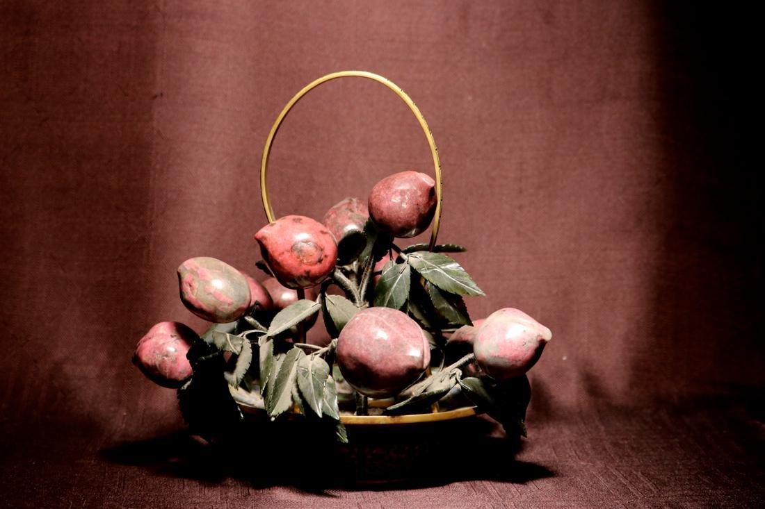 Chinese Cloisonne Basket with Hardstone Peach