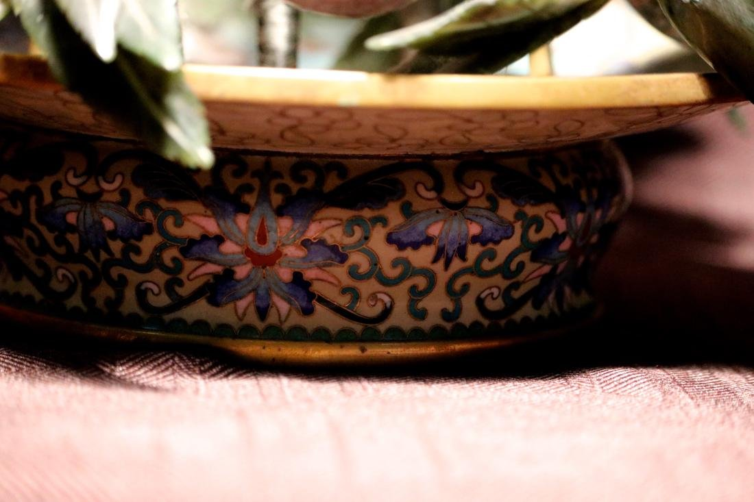 Chinese Cloisonne Basket with Hardstone Peach - 4