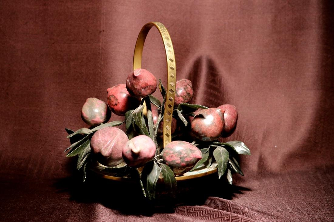 Chinese Cloisonne Basket with Hardstone Peach - 5