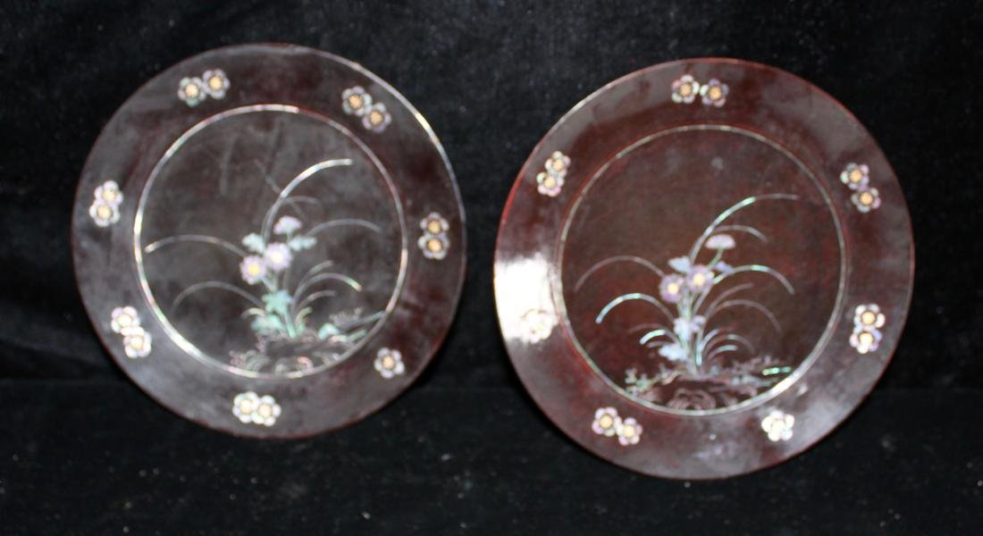 Pair Asian Lacquer Dish with Mother of Pearl Inlay