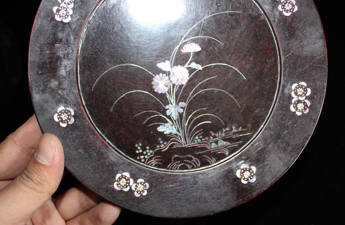Pair Asian Lacquer Dish with Mother of Pearl Inlay - 3