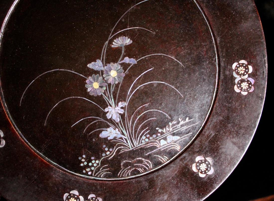 Pair Asian Lacquer Dish with Mother of Pearl Inlay - 4