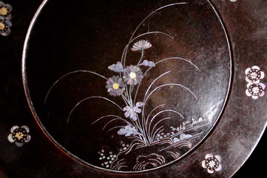 Pair Asian Lacquer Dish with Mother of Pearl Inlay - 5