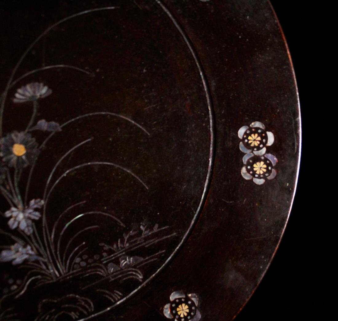 Pair Asian Lacquer Dish with Mother of Pearl Inlay - 6