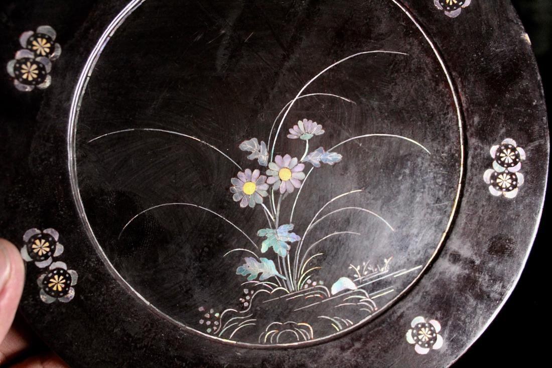 Pair Asian Lacquer Dish with Mother of Pearl Inlay - 9