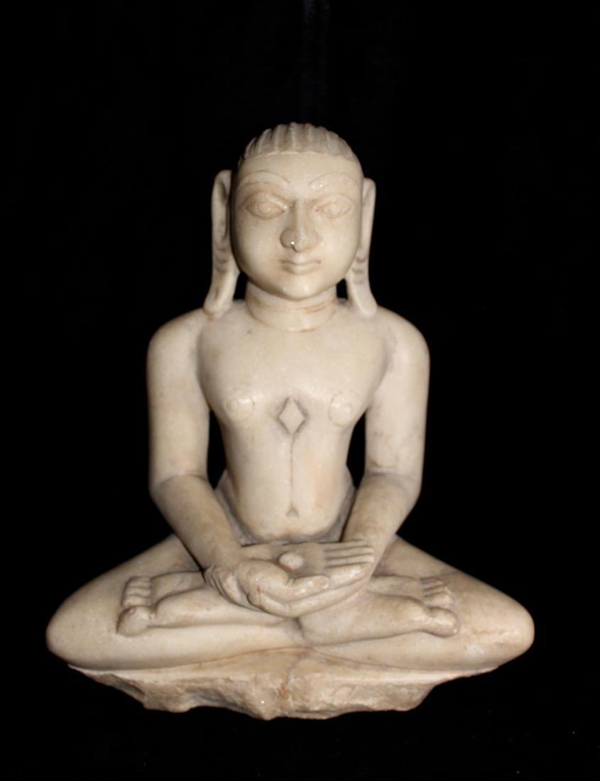 Antique White Marble Buddha - Jain