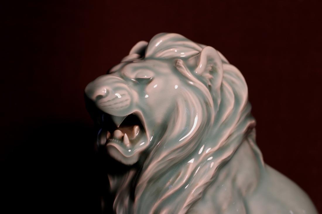 Japanese Celadon Porcelain Lion - Signed  云堂 - 2