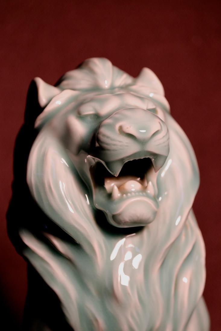 Japanese Celadon Porcelain Lion - Signed  云堂 - 6