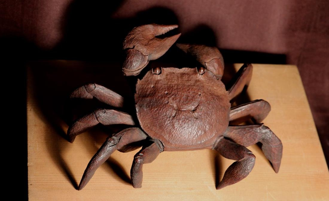 Rare Japanese Carved Wood Crab with Box - Signed
