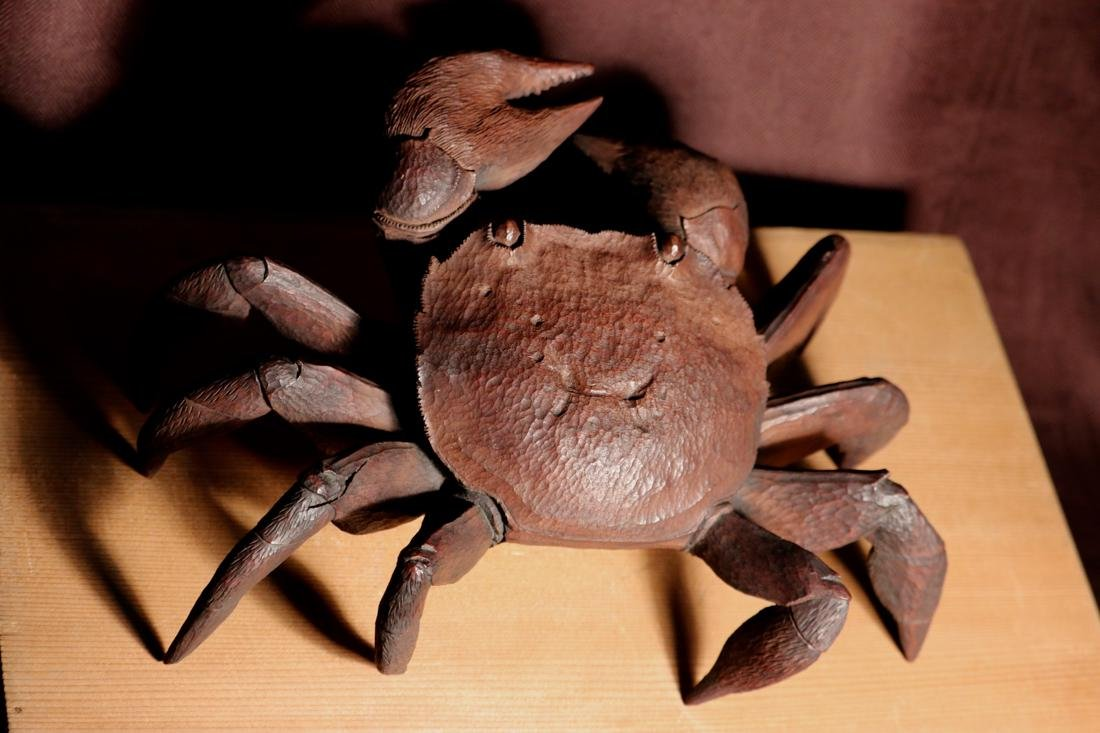 Rare Japanese Carved Wood Crab with Box - Signed - 3