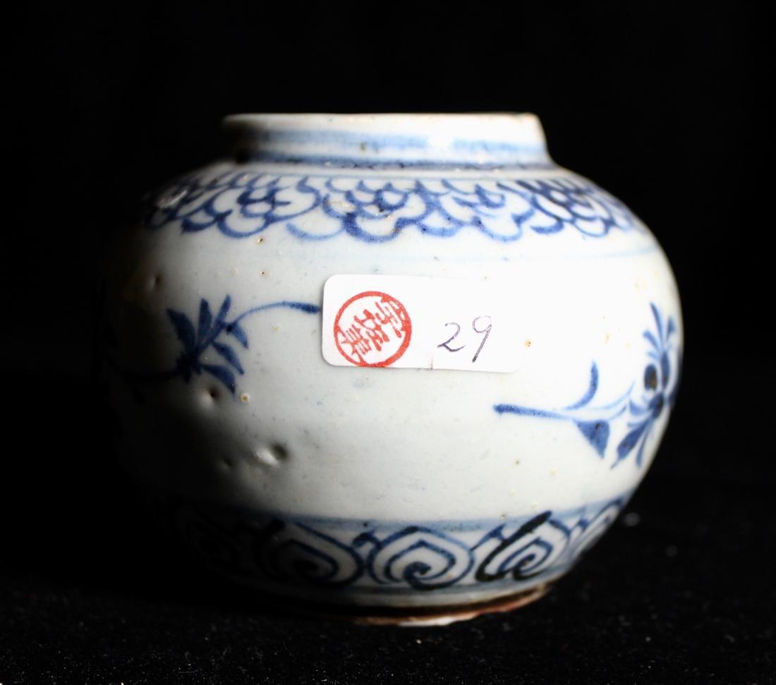 Chinese Small Ming Blue White Porcelain Vase - 2