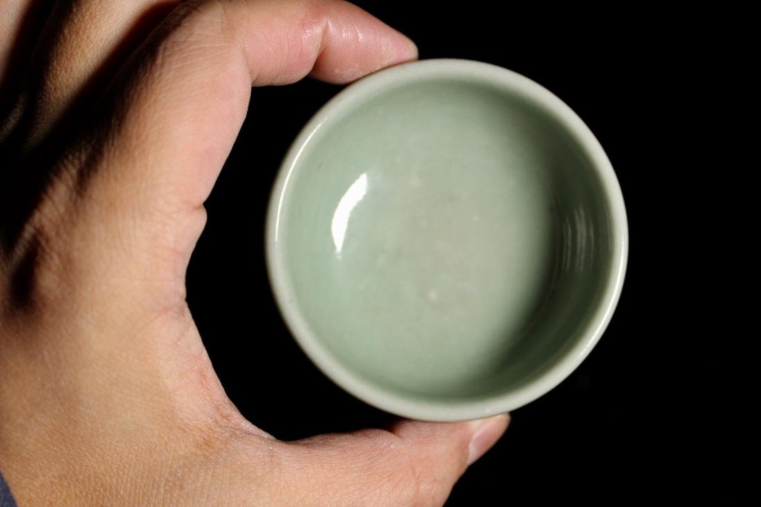 Early Chinese Yuan Ming Celadon Porcelain Bowl with Sac - 3