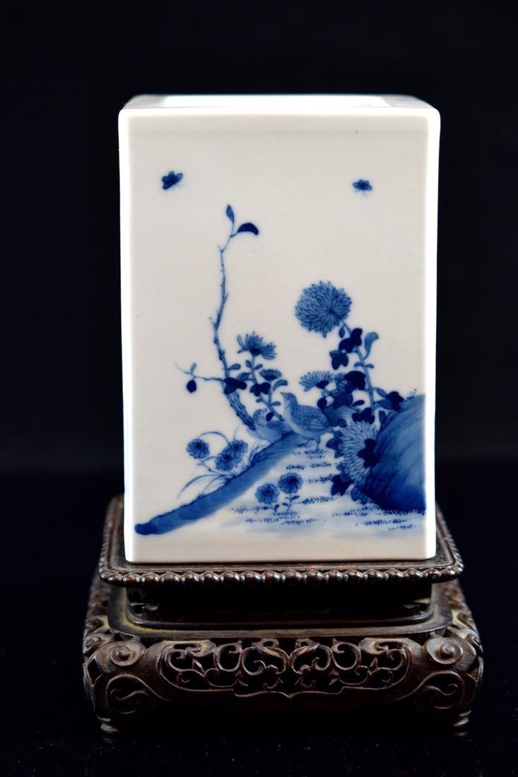 Chinese Square Porcelain Brushpot on Rosewood Base