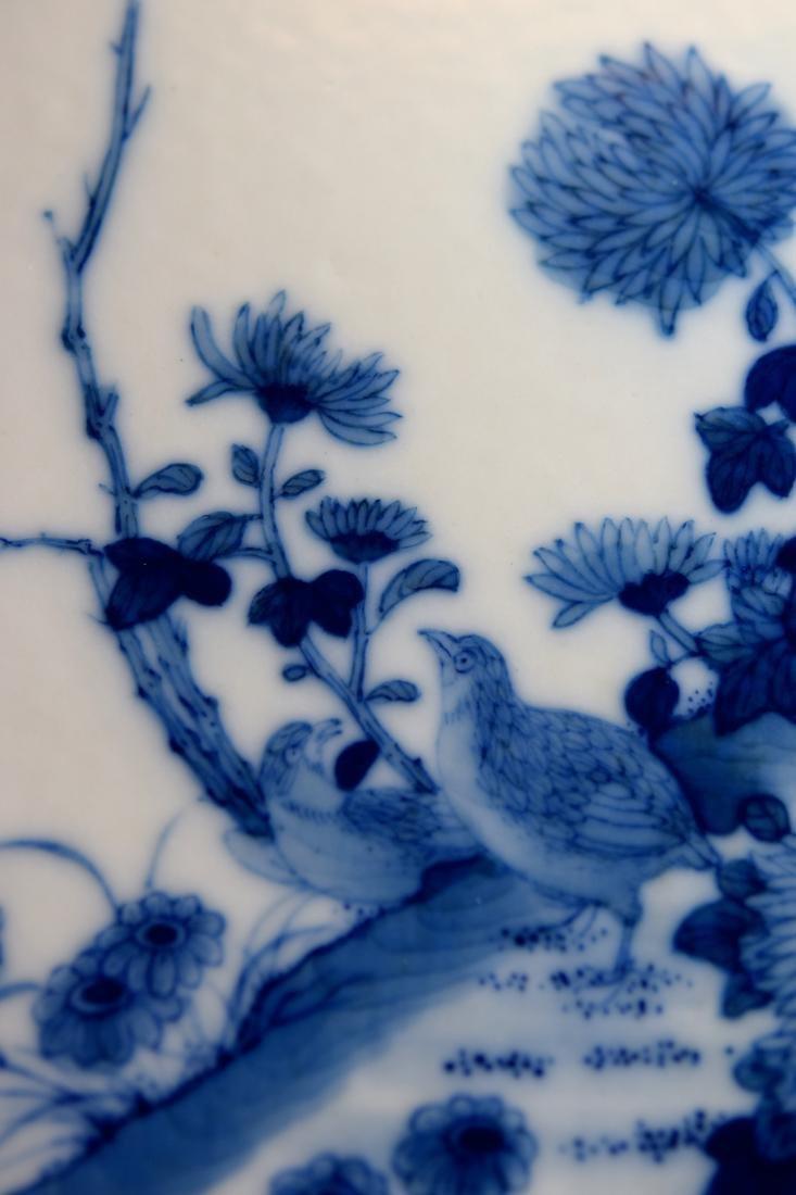 Chinese Square Porcelain Brushpot on Rosewood Base - 2