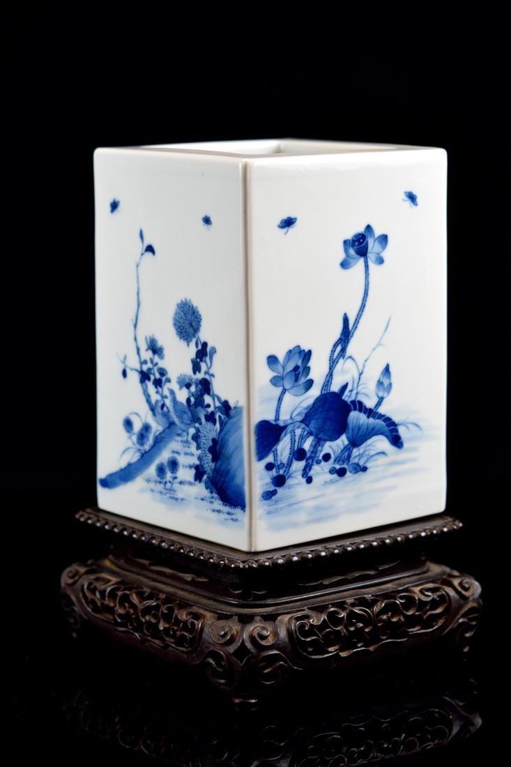 Chinese Square Porcelain Brushpot on Rosewood Base - 3