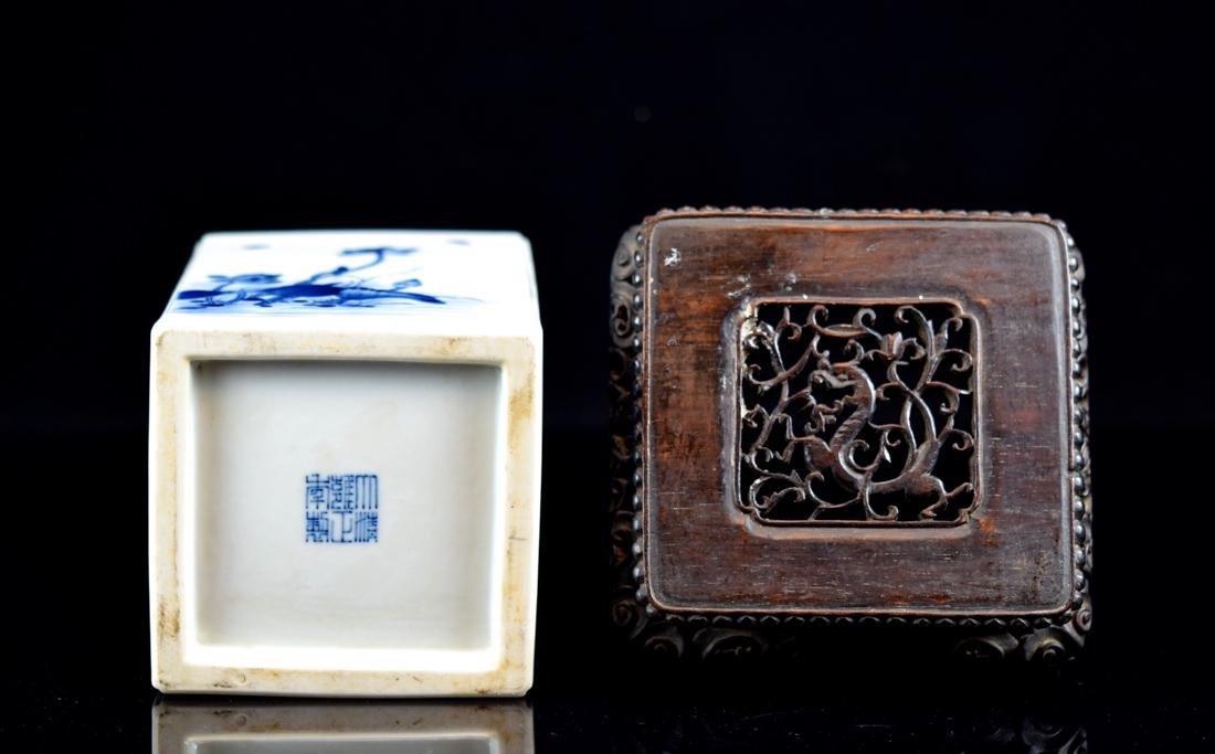 Chinese Square Porcelain Brushpot on Rosewood Base - 7