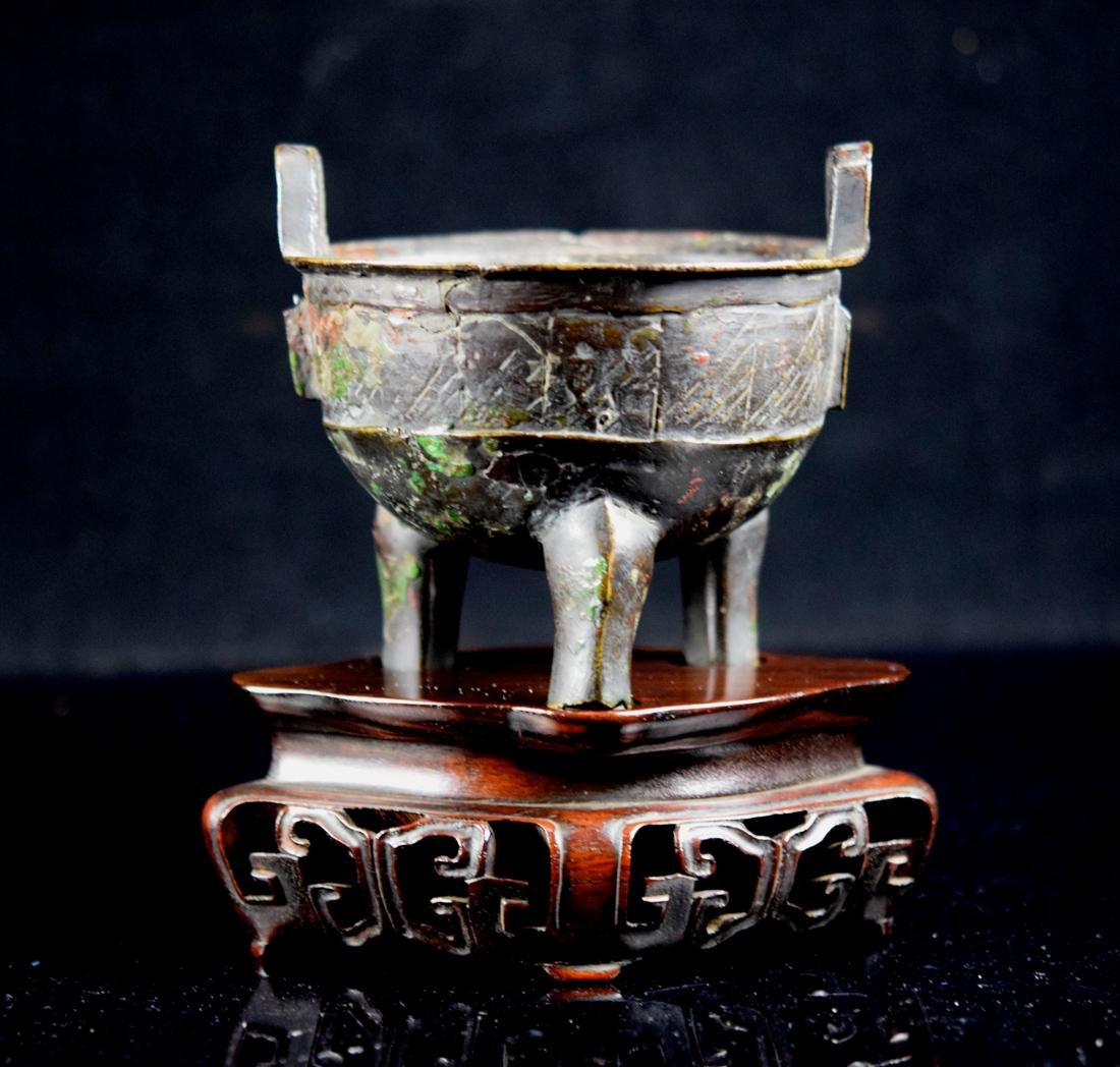 Chinese Early Bronze Censer with Rosewood Base