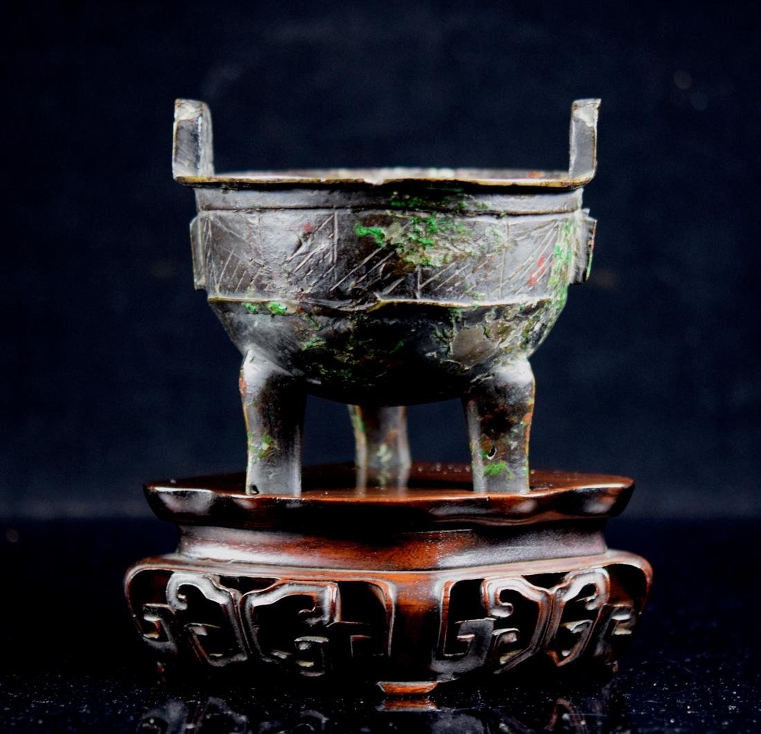 Chinese Early Bronze Censer with Rosewood Base - 4
