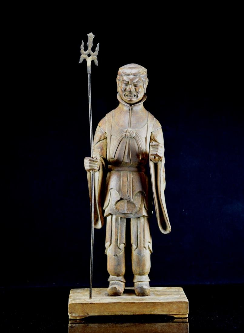 Early Japanese Wood Carving of a Priest