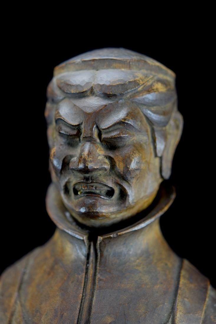 Early Japanese Wood Carving of a Priest - 2