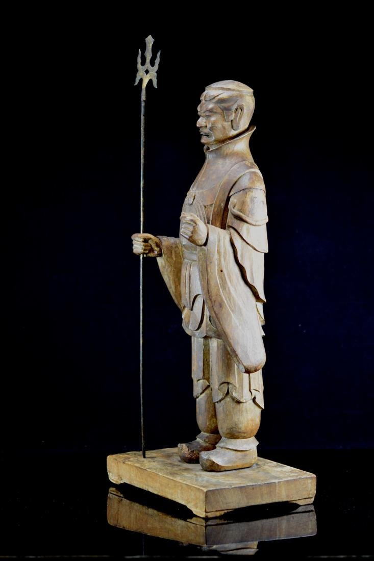 Early Japanese Wood Carving of a Priest - 5