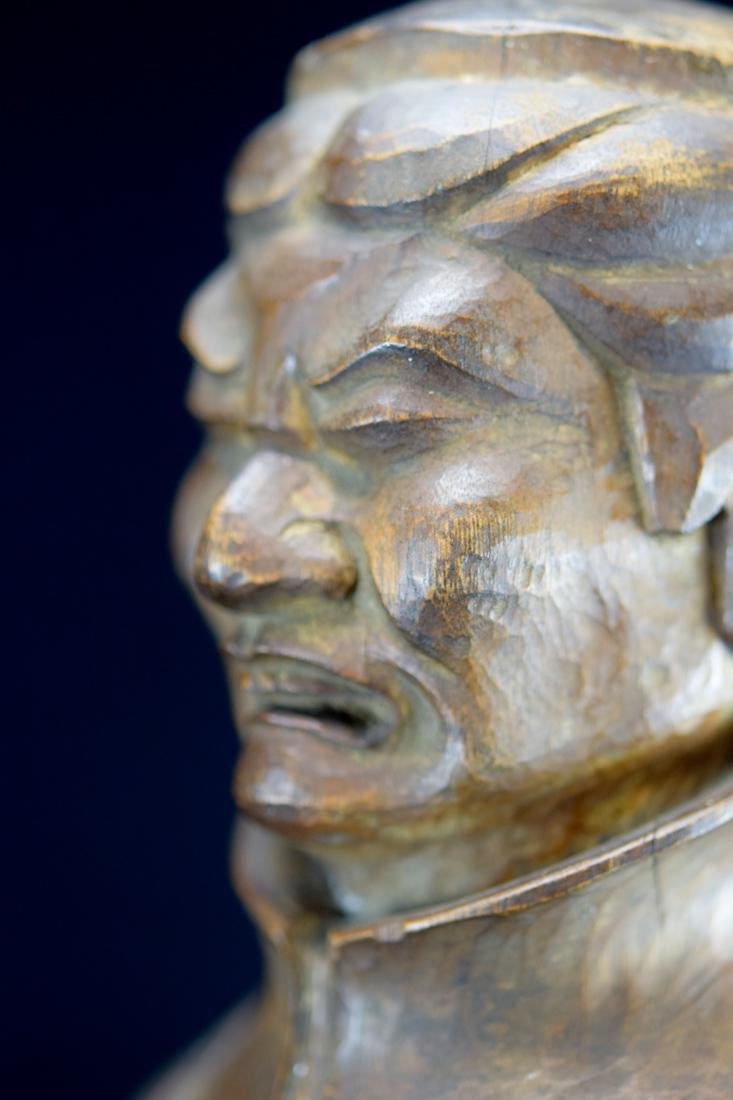 Early Japanese Wood Carving of a Priest - 6