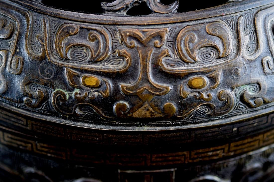 Massive Chinese Bronze Ding with Gold Inlay - 2