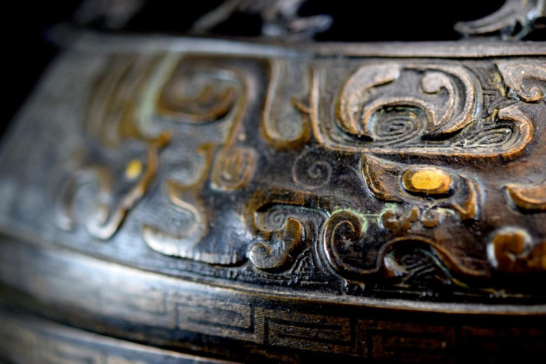 Massive Chinese Bronze Ding with Gold Inlay - 5