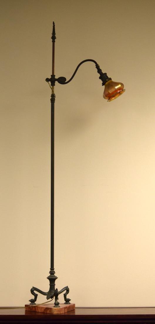 American Arts Crafts Tiffany Bronze Floor Lamp with