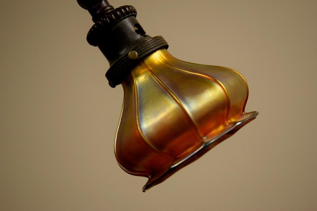 American Arts Crafts Tiffany Bronze Floor Lamp with - 6
