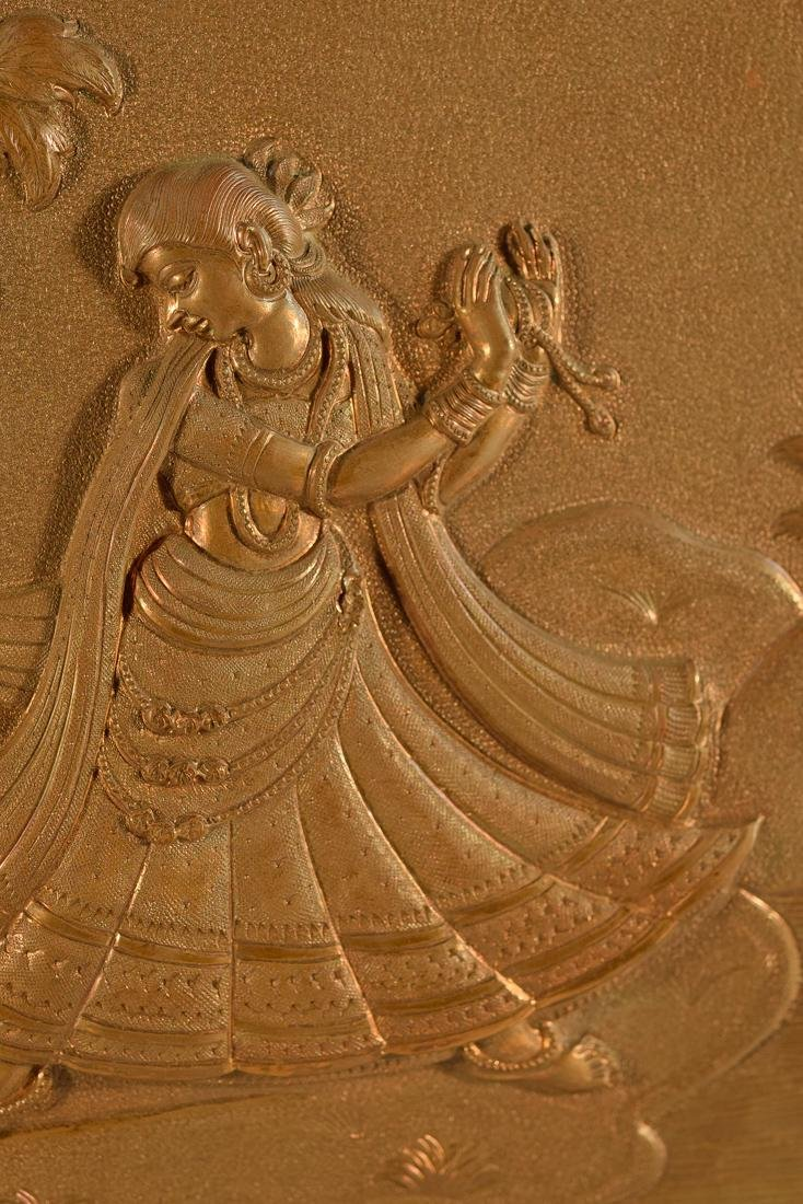 Unusual Nepalese Copper Plaque with Dancer - 3