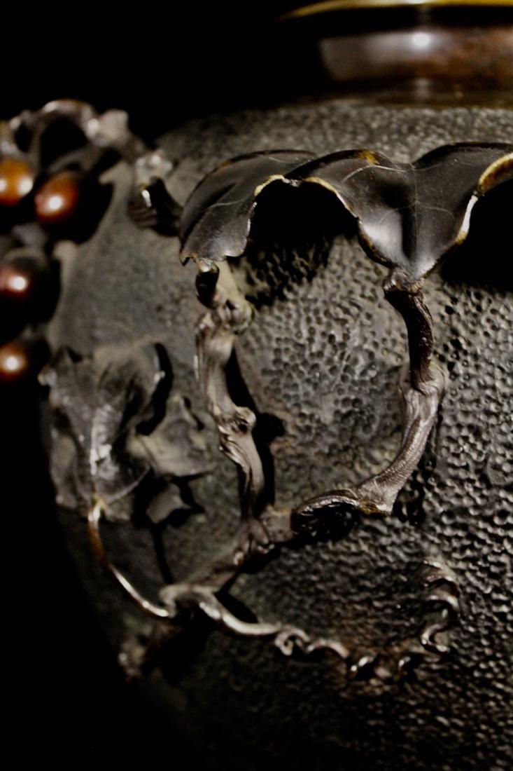 Japanese Bronze Vase with Grape Scene - 3