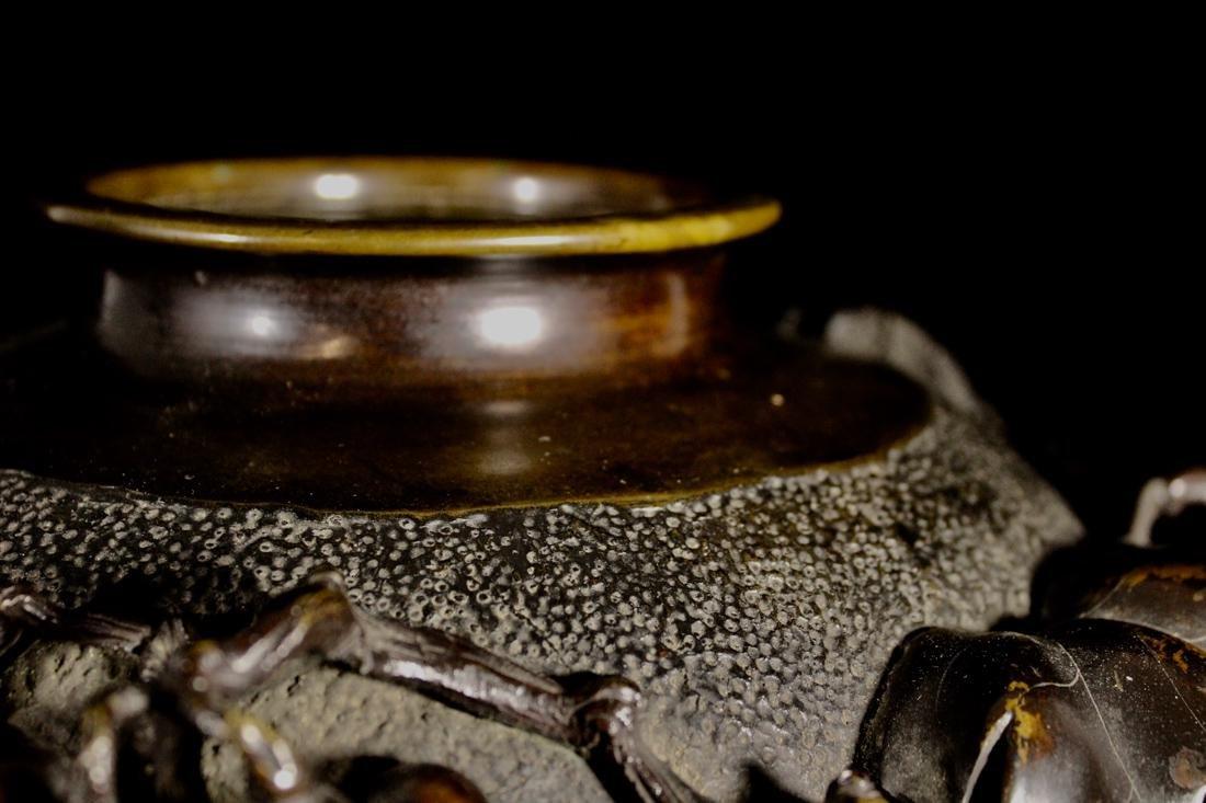 Japanese Bronze Vase with Grape Scene - 6